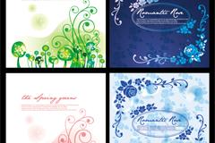 卡通花卉装饰卡片矢量素材