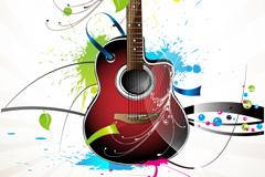 潮流吉他泼墨插画矢量素材