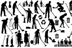 17款清洁人物剪影矢量素材