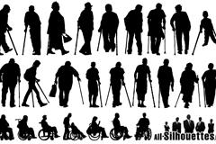 25款残疾人物剪影矢量素材