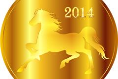 2014马年金币矢量素材