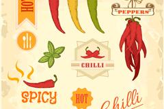 精美辣椒食品标签矢量素材