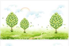 清新树木插画矢量素材