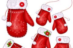 卡通圣诞手套矢量素材