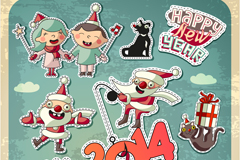 卡通圣诞节人物剪贴画矢量素材