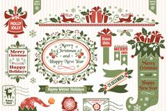 精美圣诞复古标签元素矢量素材