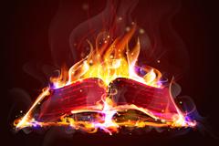 创意火焰书本矢量素材