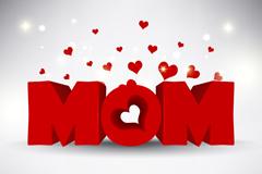 精美立体爱心母亲节插画矢量素材