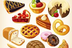美味卡通甜点糕点矢量素材