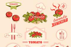 卡通番茄标签矢量素材