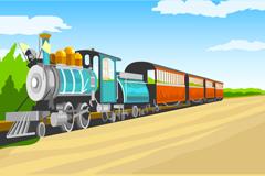 卡通火车插画矢量素材