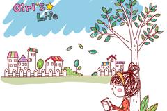 彩绘读书女孩矢量素材